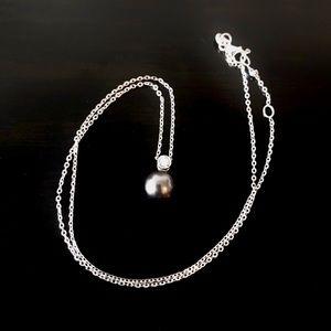 💎 Premium black pearl with diamond necklace